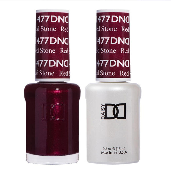 DND 477 Red Stone - DND Gel Polish & Matching Nail Lacquer Duo Set - 0.5oz