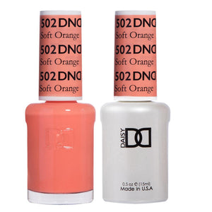 DND 502 Soft Orange - DND Gel Polish & Matching Nail Lacquer Duo Set - 0.5oz