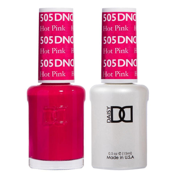 DND 505 Hot Pink - DND Gel Polish & Matching Nail Lacquer Duo Set - 0.5oz