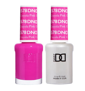 DND 578 Crayola Pink - DND Gel Polish & Matching Nail Lacquer Duo Set - 0.5oz