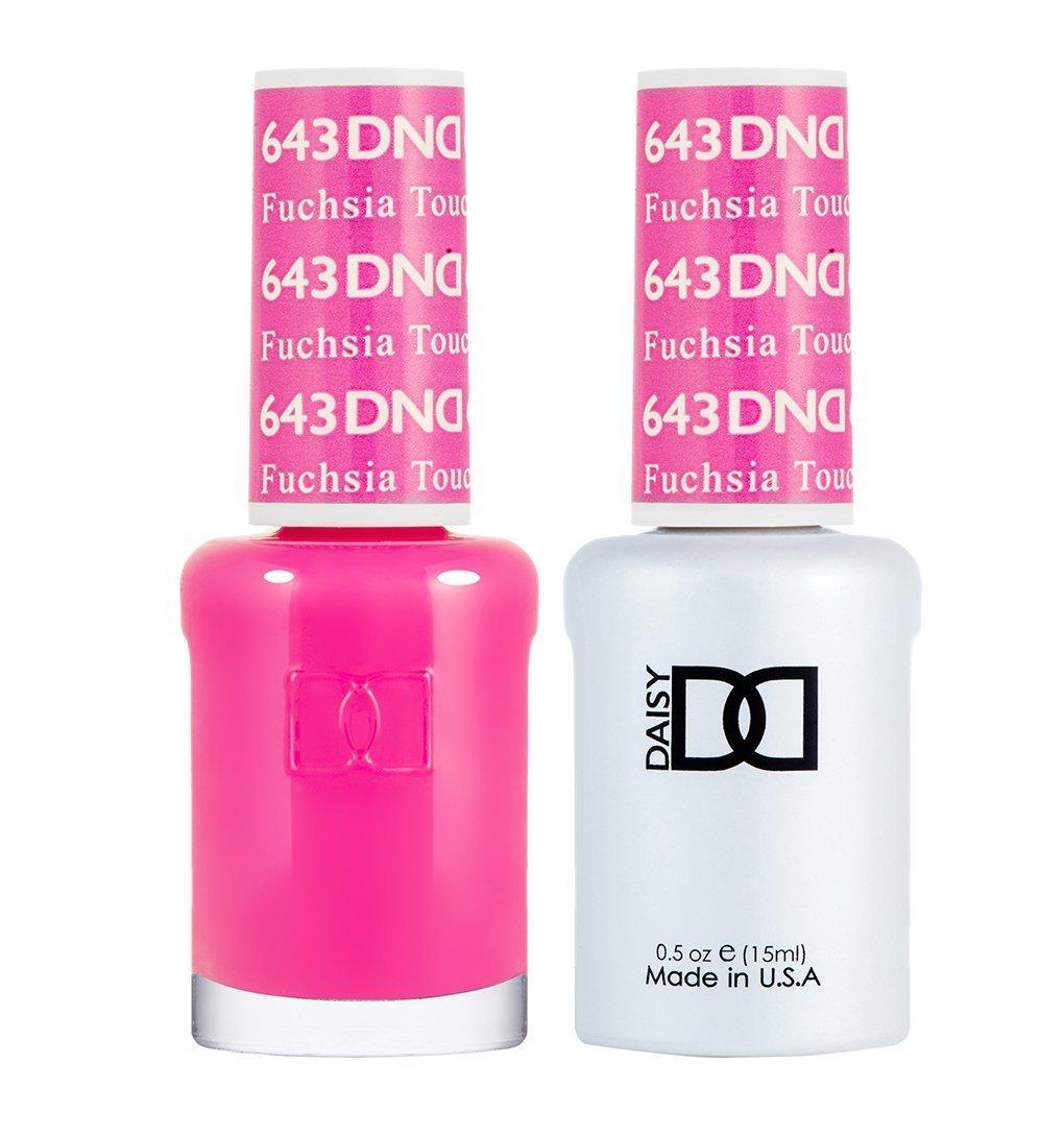 DND 643 Fuchsia Touch - DND Gel Polish & Matching Nail Lacquer Duo Set - 0.5oz