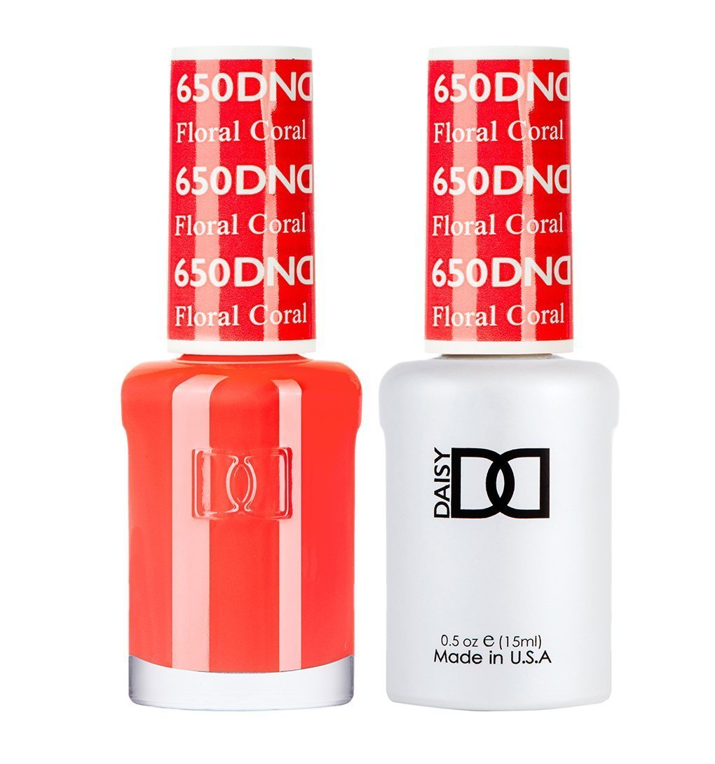 DND 650 Floral Coral - DND Gel Polish & Matching Nail Lacquer Duo Set - 0.5oz