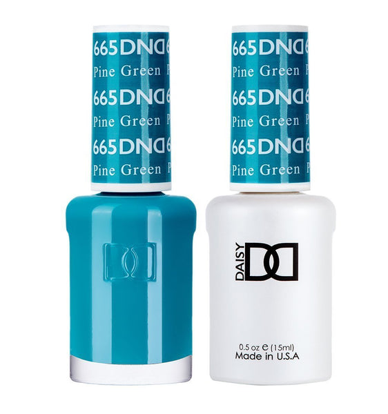 DND 665 Pine Green - DND Gel Polish & Matching Nail Lacquer Duo Set - 0.5oz