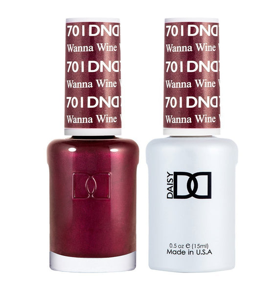 DND 701 Wanna Wine - DND Gel Polish & Matching Nail Lacquer Duo Set - 0.5oz