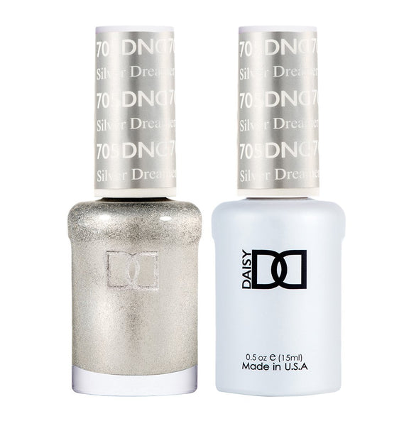 DND 705 Silver Dreamer - DND Gel Polish & Matching Nail Lacquer Duo Set - 0.5oz