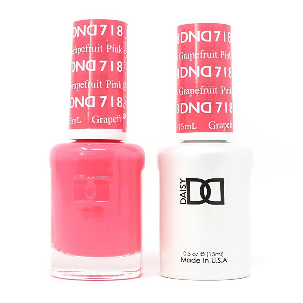 DND 718 Pink Grapefruit - DND Gel Polish & Matching Nail Lacquer Duo Set - 0.5oz