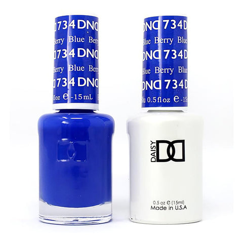 DND 734 Berry Blue - DND Gel Polish & Matching Nail Lacquer Duo Set - 0.5oz
