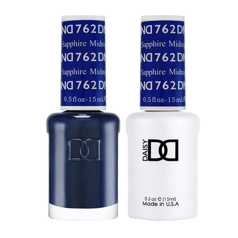 DND 762 Midnight Sapphire - DND Gel Polish & Matching Nail Lacquer Duo Set - 0.5oz