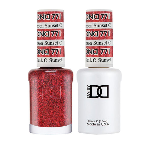 DND 771 Crimson Sunset - DND Gel Polish & Matching Nail Lacquer Duo Set - 0.5oz