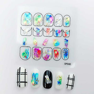 3D Laser Bronzing Nail Stickers SP048
