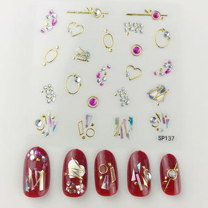 3D Laser Bronzing Nail Stickers SP137