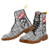 Punk Skull All Over Grey Plaid Patterns Boots For Women - (Model ST-1203H)