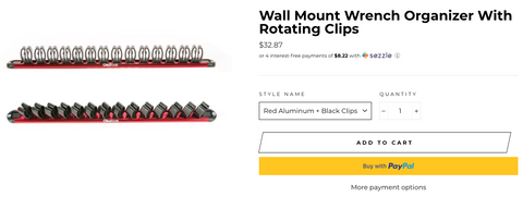 Wall Mount Wrench Organizer With Rotating Clips