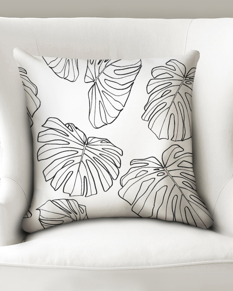 "White Monstera - Throw Pillow Case 18""x18"""