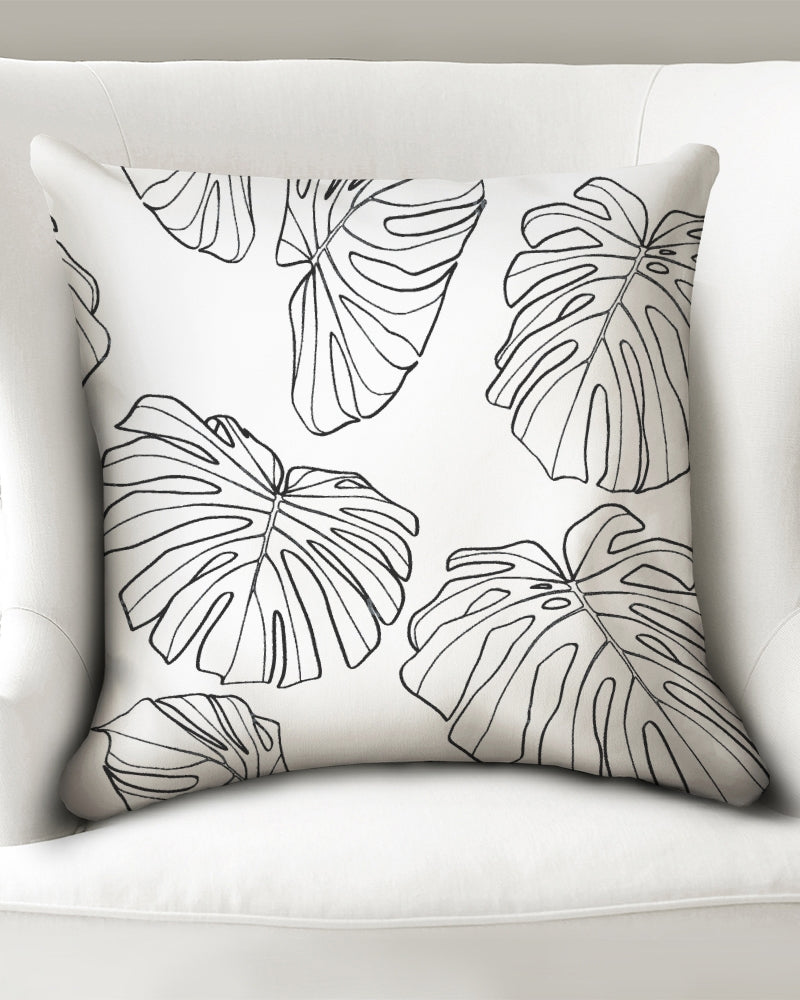 "White Monstera - Throw Pillow Case 20""x20"""