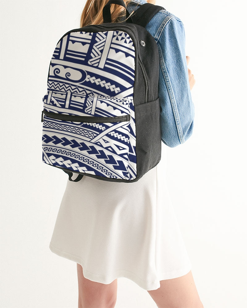 Samoan Tattoo Blue Small Canvas Backpack