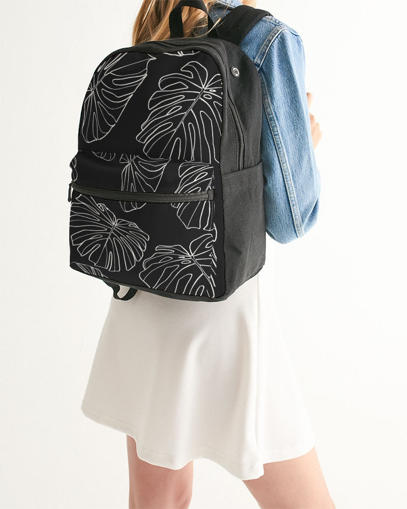 Black Monstera - Canvas Backpack