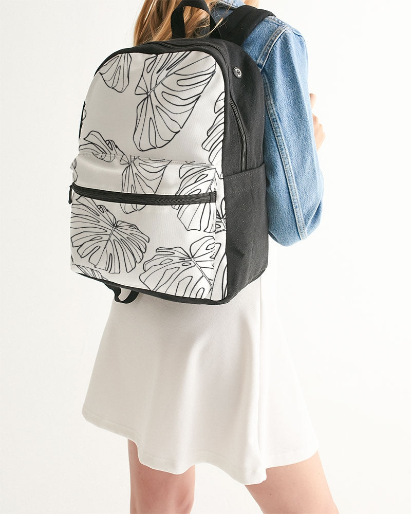 White Monstera - Canvas Backpack