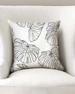 "White Monstera - Throw Pillow Case 16""x16"""