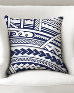 "Samoan Tattoo Blue Throw Pillow Case 18""x18"""