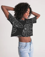 Monstera - Women's Black Lounge Cropped Tee