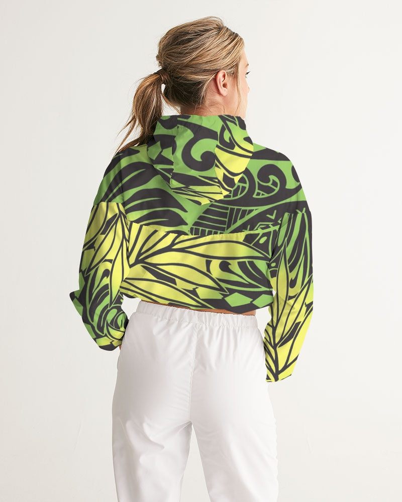 Monstera Green/Yellow Women's Cropped Windbreaker