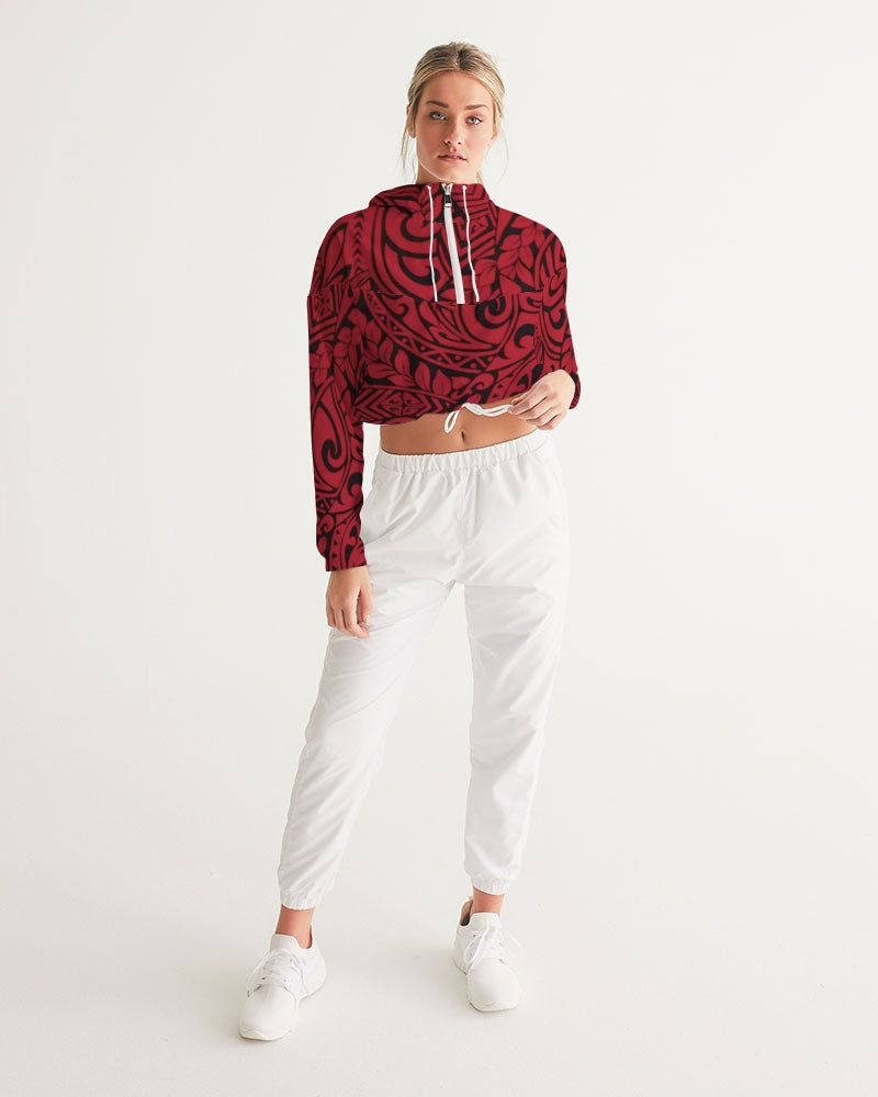 Polynesian Red  Women's Cropped Windbreaker