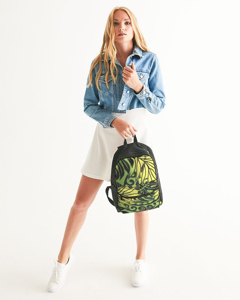Monstera Green/Yellow Small Canvas Backpack