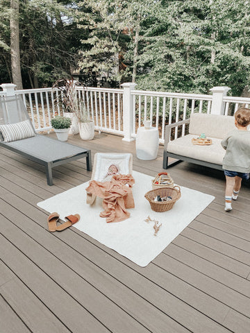 Deck with two children
