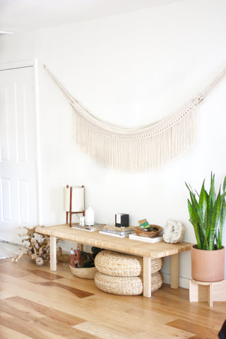 Entry way table with diffuser and plants