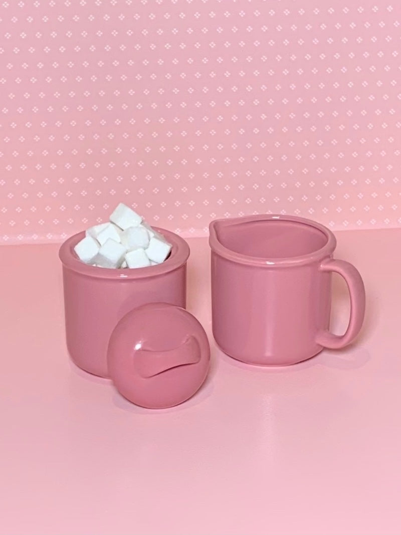 Pink Cream & Sugar Set