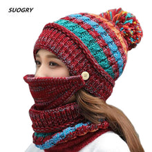 Load image into Gallery viewer, 3 piece Winter Hat, Scarf & Mask For Women