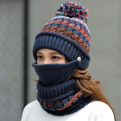 3 piece Winter Hat, Scarf & Mask For Women