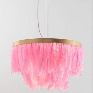 Iridescent Feather Chandelier.