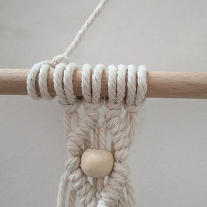 Hand-knitted Macrame Shelf in Organic Cotton.