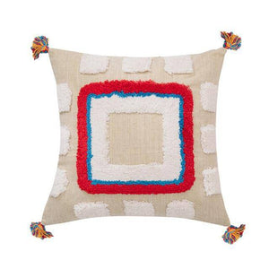 Handcrafted Cotton Cushion with Tassels.