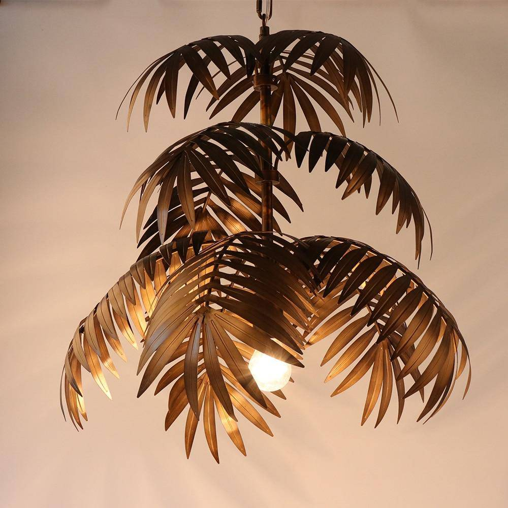 Art Deco Coconut Tree Metal Pendant.