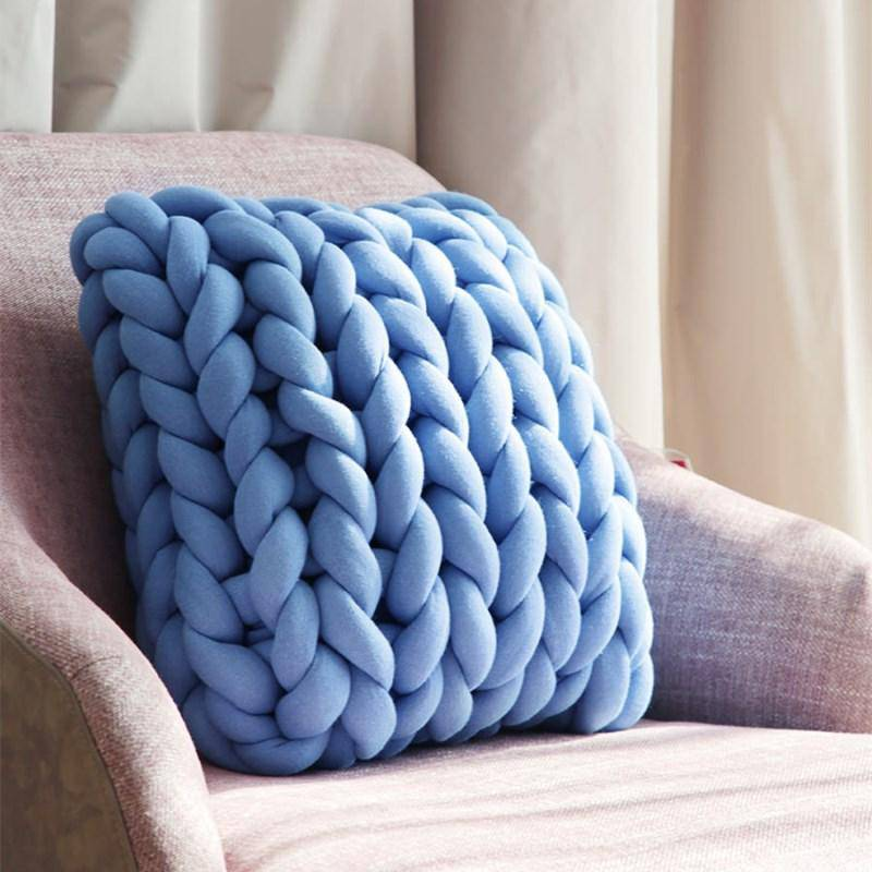 Hand-knitted Jumbo Merino Wool Cushion.