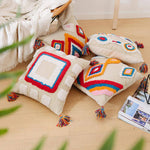 Load image into Gallery viewer, Handcrafted Cotton Cushion with Tassels.