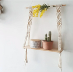 Load image into Gallery viewer, Hand-knitted Macrame Shelf in Organic Cotton.