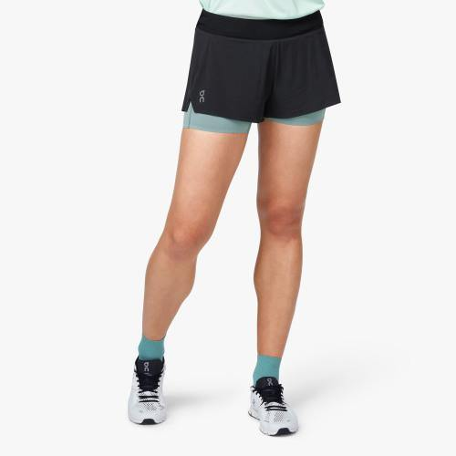 On Running Shorts Black/Sea Damen - Sport Duwe Saulheim