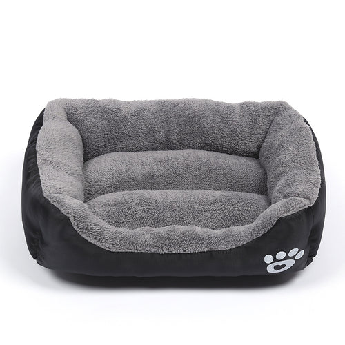 Black Fleece Dog Bed
