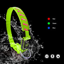 Load image into Gallery viewer, Green LED Dog Collar with Bone Print