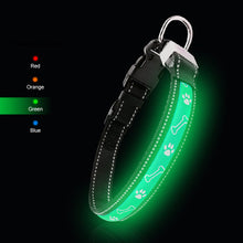 Load image into Gallery viewer, Green LED Lycra Dog Collar