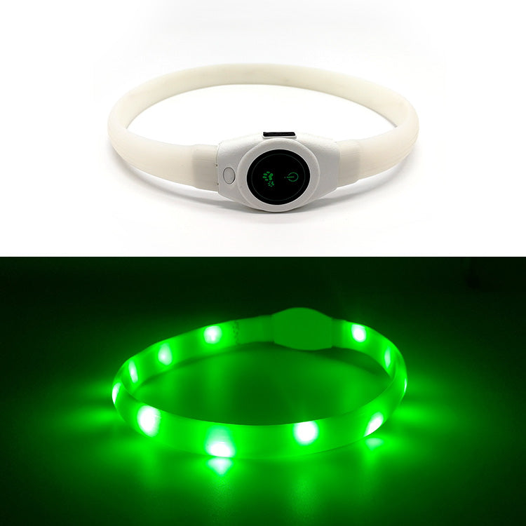 Green Silicone LED Dog Collar