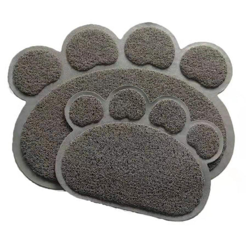 Grey Dog Paw Shaped Door Mat