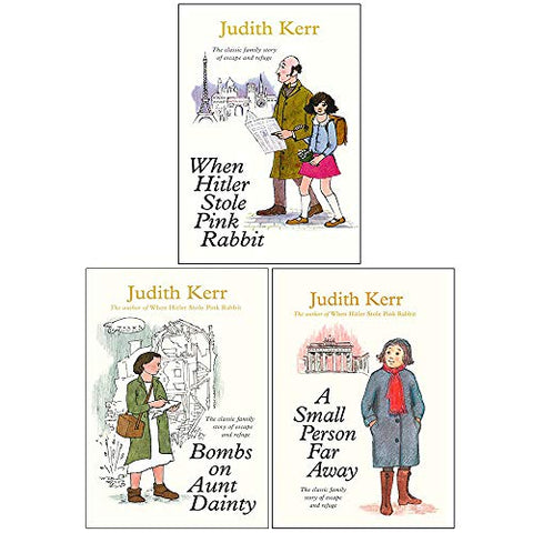 Judith Kerr Collection 3 Books Set (When Hitler Stole Pink Rabbit, Bombs on Aunt Dainty, A Small Person Far Away)