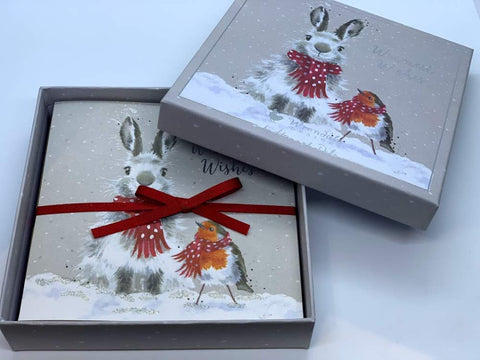 "Wrendale Designs Luxury Christmas Card Box Set of 8 Cards""Snow Angels"" Rabbit and RobinDesign"