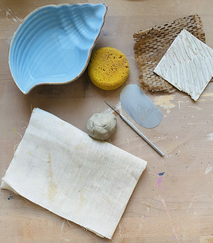 Tools used for applying texture to clay