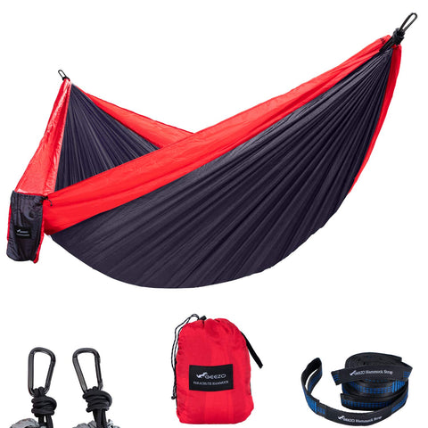 Red and black Best Double Hammocks for Camping